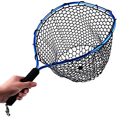 Sougayilang Fly Fishing Net Aluminum Landing Net with Soft Rubber Mesh EVA Handle Release Net for Fly Trout Boating Fishing