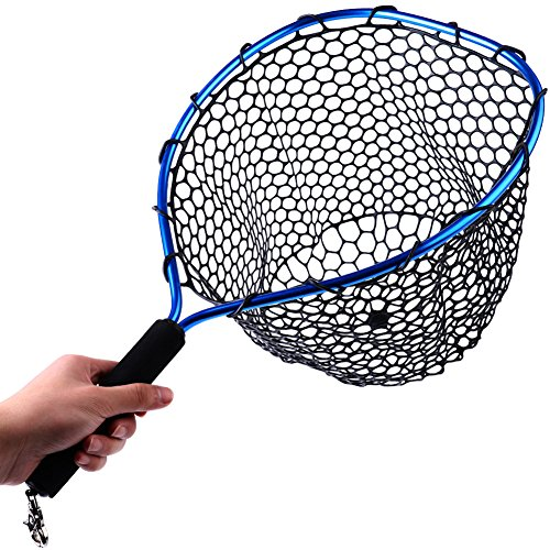(Sougayilang Fly Fishing Net Aluminum Landing Net with Soft Rubber Mesh EVA Handle Release Net for Fly Trout Boating Fishing)