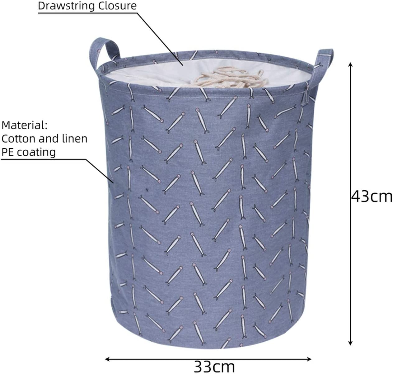 Krystal_wisdom Folding Collapsible Laundry Basket Large Capacity Drawstring Closure Laundry Hamper Canvas Storage Organizer with Handle Bin 1pc,A8,