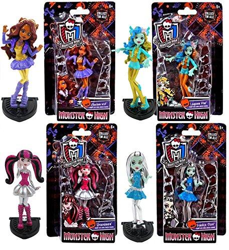 Monster High Mini Figures Scary Cute Howl-Oween 4-Pack / Draculaura / Frankie Stein / Clawdeen Wolf / Lagoona Blue Girl Characters