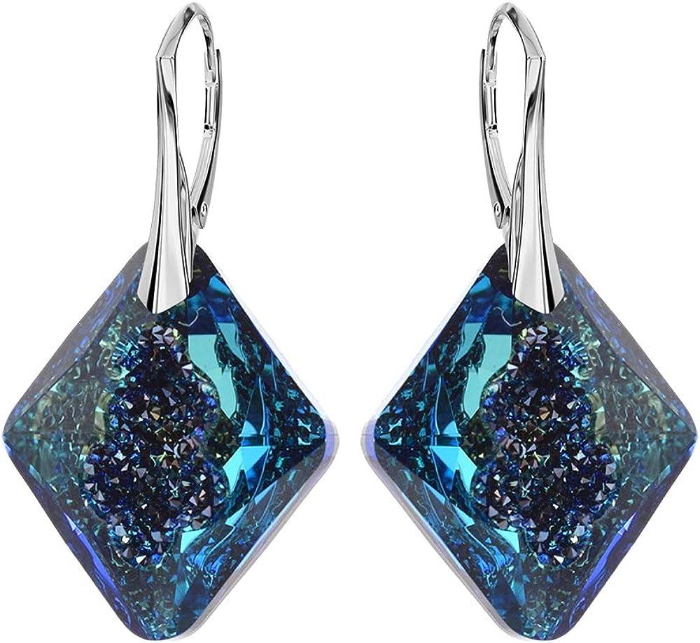 Crystals & Stones novedad–Triangle–La exclusiva Pendientes–Color Bermuda Blue–Plata 925Schön–Pendientes con Cristales de Swarovski Elements–Fantástica Pendientes
