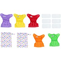 HEALLILY Reusable Diapers TPU Waterproof 13Pcs Cloth Diaper Cover Diaper Changing Pad Inserts Covers for Newborn Baby…