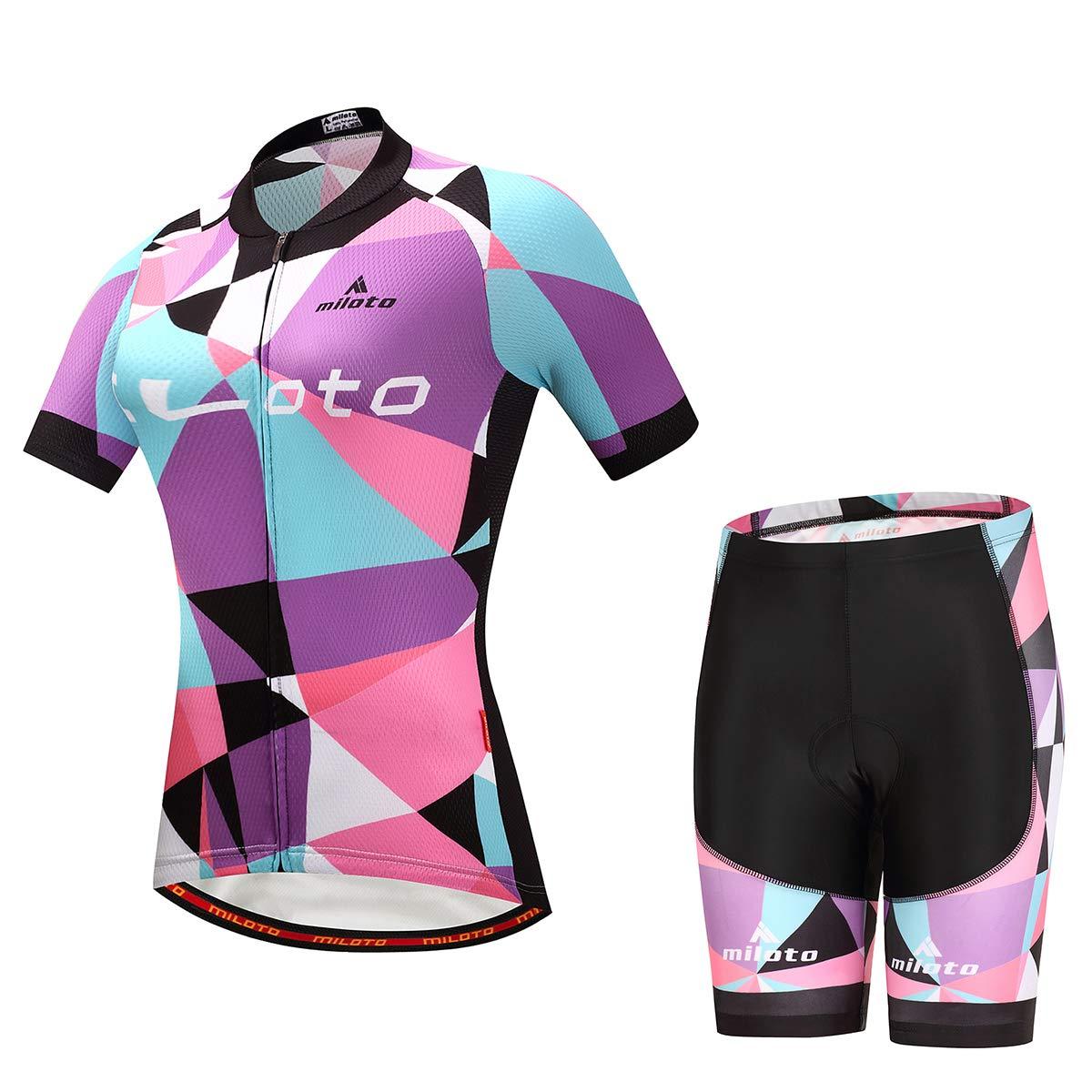Pink Splinter MILOTO Women's Cycling Jersey Reflective Shirt Padded Shorts Set