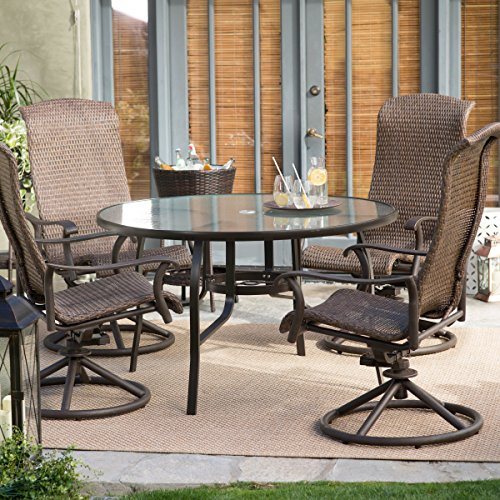 Brown Modern 5 pc. All Weather Wicker Round Patio Dining Set | Contemporary Furniture to any Home Outdoor by the Veranda, Garden, Porch, Pool or Deck