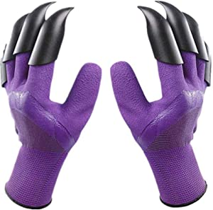 REDDSN Garden Genie Gloves with Claws, Double Claws Waterproof Garden Gloves, Breathable Digging Planting Gloves,1Pairs Best Gardening Gifts for Women and Men (Purple)