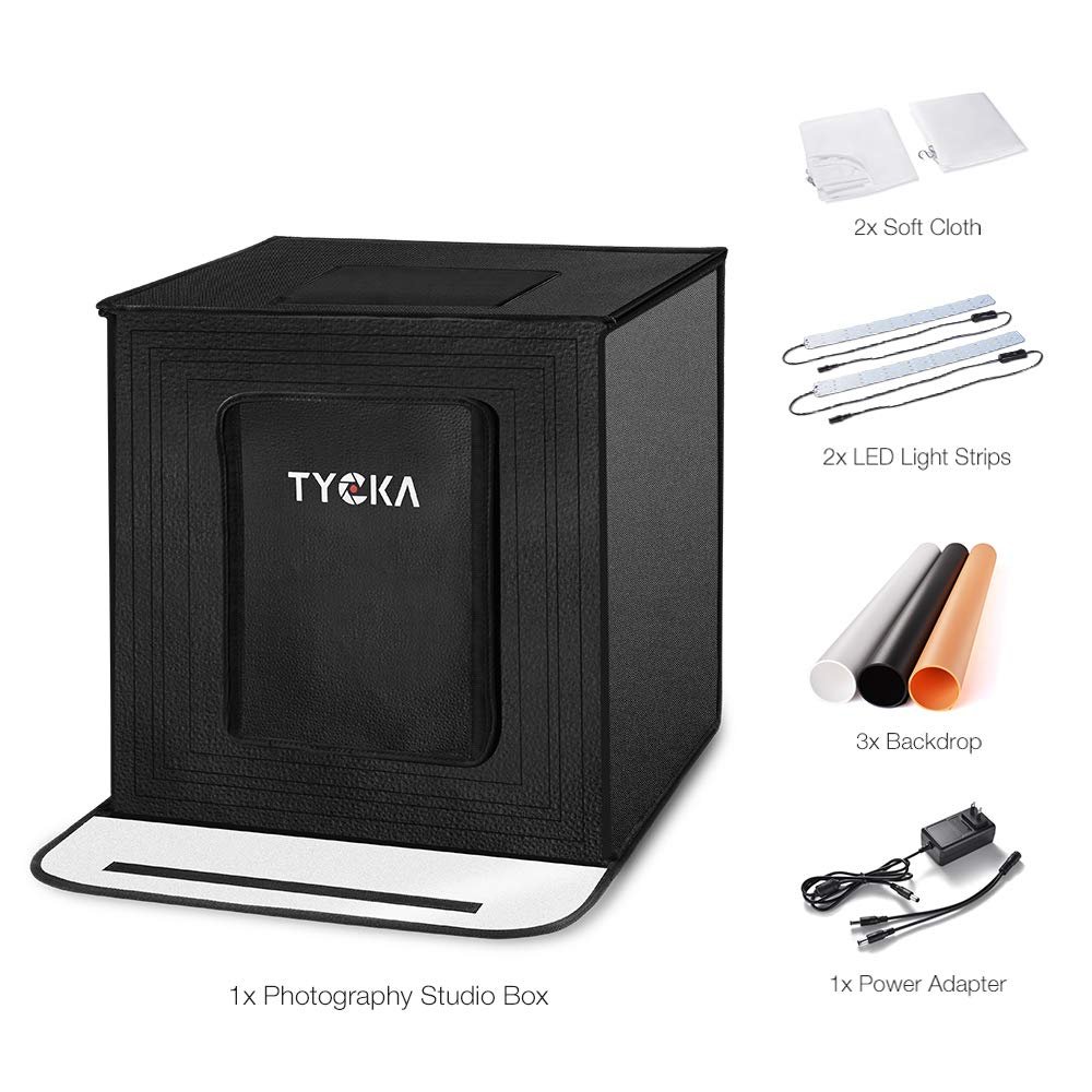 Black, White, Beige Photography Light Box Portable and Foldable Photo Studio Box Tent 16x16x16 Inches Tent with 5500K LED Lights,3 Backdrops