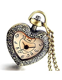 Lancardo Women Ladies Girls Cut Out Heart Retro Design Pocket Watch for Christmas with Gift Bag