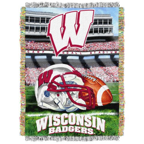 The Northwest Company Officially Licensed NCAA Wisconsin Badgers Home Field Advantage Woven Tapestry Throw Blanket, 48'' x 60'' by The Northwest Company (Image #1)