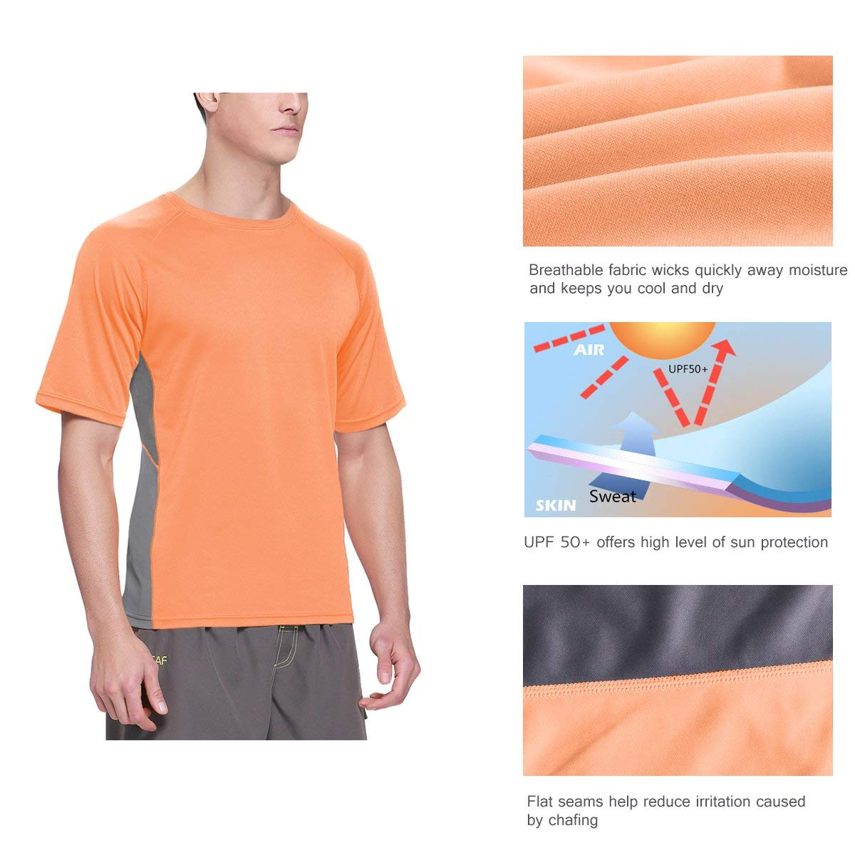 Baleaf Men's Short Sleeve Sun Protection Rashguard Swim Shirt UPF 50+ Fluorescent Orange S by Baleaf (Image #5)