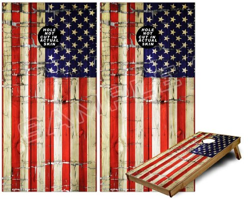 Cornhole Bag Toss Game Board Vinyl Wrap Skin Kit - Painted Faded and Cracked USA American Flag (fits 24x48 game boards - Gameboards NOT INCLUDED)