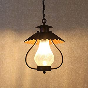 SUSUO Bulb Style Lantern Pendant Lighting with Scalloped Metal Shade & Frosted Crackle Glass - Industrial Ceiling Lighting Hanging in Rust