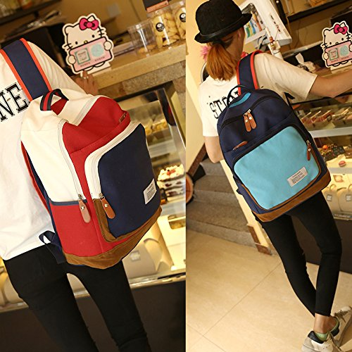 Espeedy Mochila doble del color,Moda contraste color mujeres mochila letra impresión gran capacidad estudiante mochila portátil bolsa de viaje azul