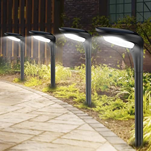Outdoor Solar Pathway Lights Landscape Path Light with 2 Modes Cool White Warm White Waterproof LED Spot Lighting Solar Powered Ground Lights for Garden Driveway Lawn Decorations,4 Pack