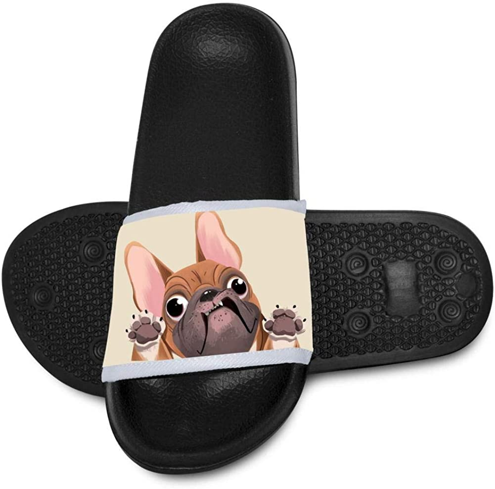 Funny French Bulldog Summer Print Summer Slide Slippers for Boy Girl Indoor Casual Home Sandals Shoes