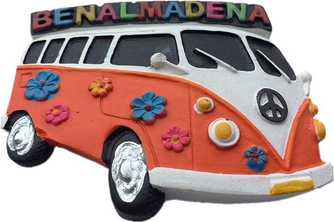 Weekinglo Souvenir Nevera Imán Autobús Benalmádena España 3D Resina Artesanía Hecha A Mano Turista Viaje Ciudad Recuerdo Carta Carta Refrigerador Etiqueta: Amazon.es: Hogar