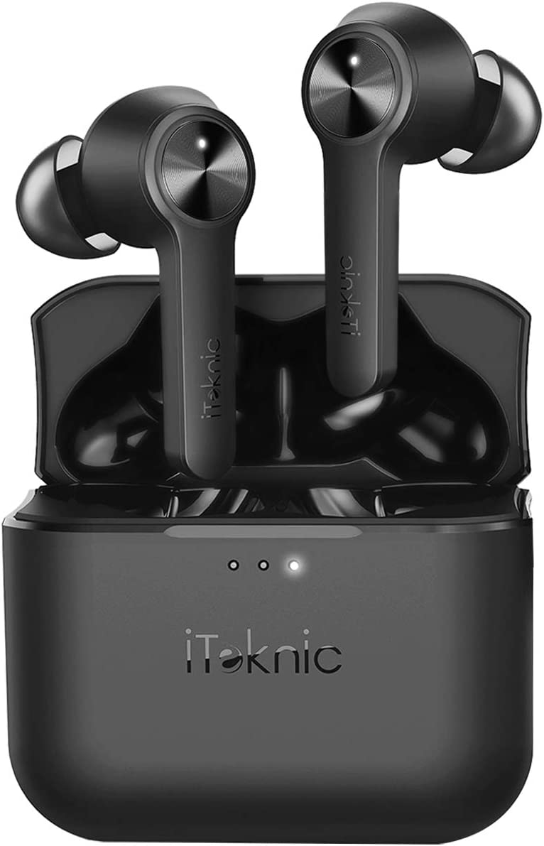 iTeknic Wireless Earbuds with 4 Mics, [2020 Upgraded] TWS Bluetooth 5.0 Wireless Earbuds with Dual-Mic Noise Reduction, IPX8 Waterproof, 40H Playtime, True Wireless Headphones for iPhone, Calls, Music