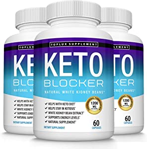 Keto Blocker Pills White Kidney Bean Extract - 1200 mg Natural Ketosis, Support Keto Diet, for Men Women, 60 Capsules, Toplux Supplement