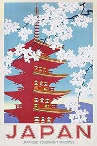 Pyramid America Japan Government Railways Cherry Blossom Vintage Travel Cool Wall Decor Art Print Poster 24x36