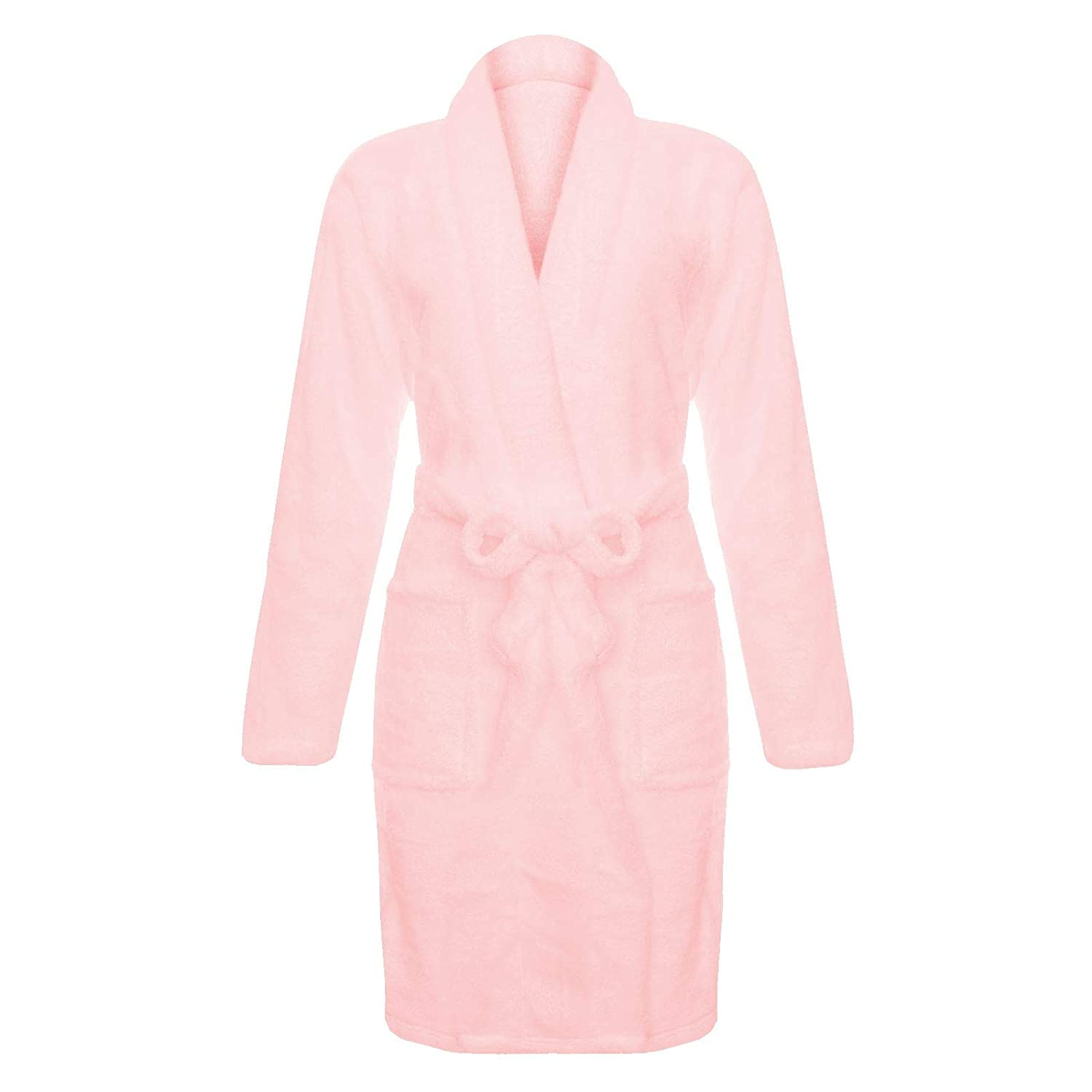 Unisex Luxury Soft Coral Fleece Plush Bathrobe Dressing Gown Long Sleeve Waist Tie Front Pockets Shower Comfort Warm Cosy ASAB