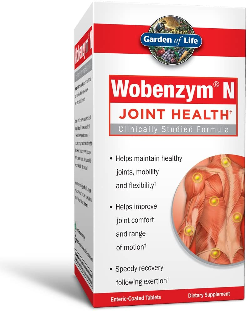 Garden of Life Joint Support Supplement - Wobenzym N Systemic Enzymes, 100 Tablets