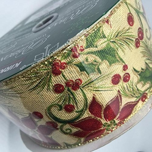 Wire Edged Ribbon Poinsettia Christmas Flower and Holly 50 yards 2.5 inches Perfect Bow for Holiday Christmas Party Gifts Floral Arrangements Tree Decor (Poinsettias Holiday Stationery)