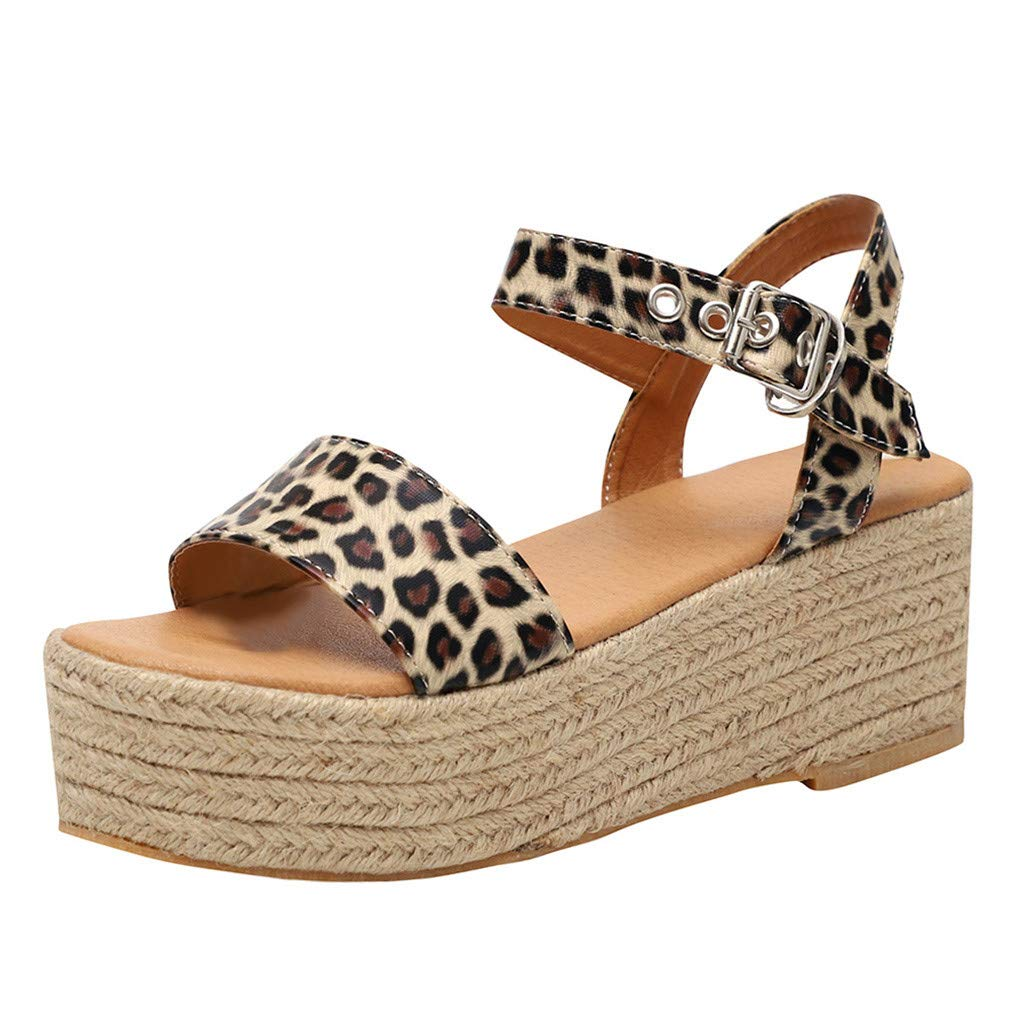Women's Espadrille Platform Sandals Adjustable Ankle Strap Buckle Wedges Woven Peep Toe Sandals Roman Shoes