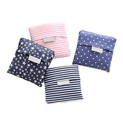2eb1b78cf Amazon.com  Kaxich Reusable Shopping Bags Foldable Grocery Bags Eco-friendly  Shopper Tote Bag Folding into Attached Pouch (4 Pack)  Kitchen   Dining