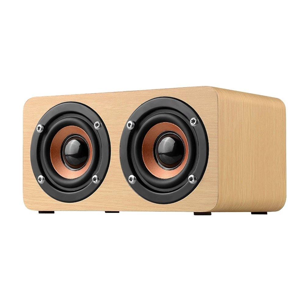 elecfan High Definition Wireless Bluetooth Wooden Speaker, Intelligent Handsfree Stereo Subwoofer Speaker, TF Card Aux Speaker - Light Brown