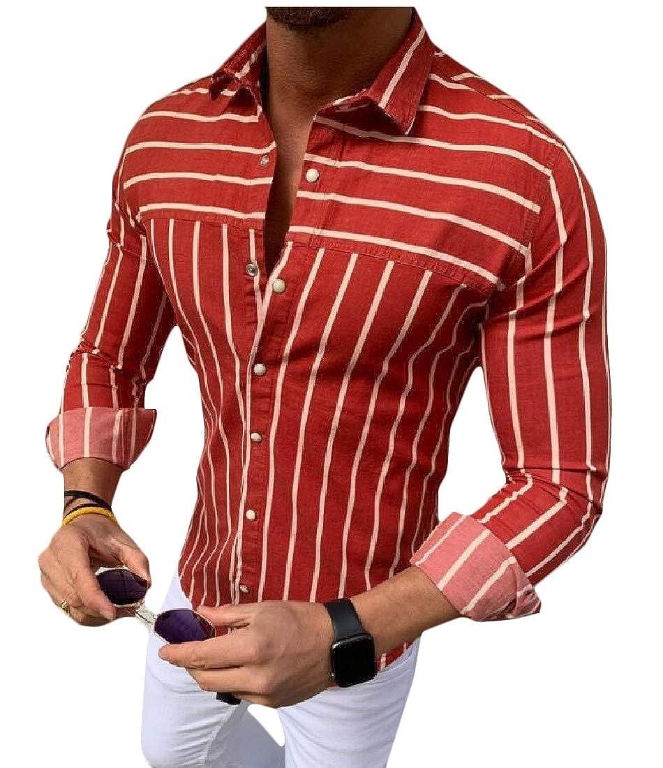 Joe Wenko Mens Juniors Button-Down Slim Striped Long-Sleeve Shirts