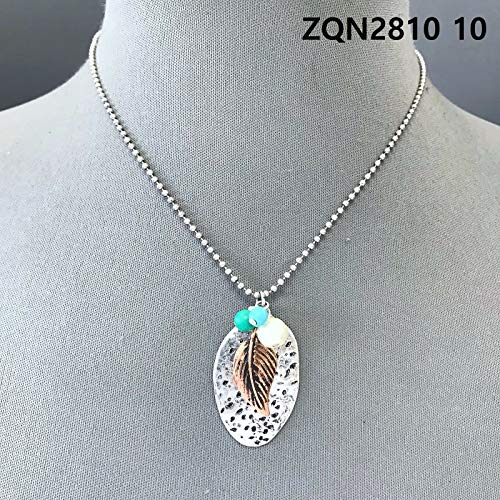 Antique Silver Finish Leaf Pearl Design Mini Oval Spoon Shape Pendant Necklace