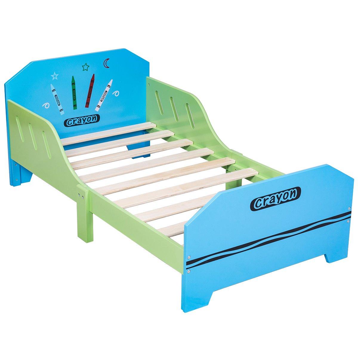 COSTWAY Kinderbett Jugendbett Bettliege Bettgestell Holz Bett Spielbett Kindermöbel Lattenrost 70 x 140 cm