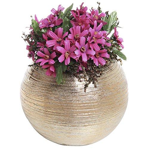 675-Inch-Round-Modern-Metallic-Ceramic-Plant-Flower-Planter-Pot-Decorative-Bowl-Vase