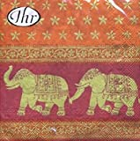 IHR Pack of 20 Napkins / Serviettes - Indian Elephants - 33cm x 33cm - 3ply