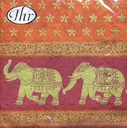 Juego De 20 Servilletas Ihr Elefantes Hindúes 33 Cm X 33 Cm 3