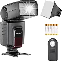 Neewer TT520 Speedlite Flash Kit for Canon Nikon Olympus Fujifilm and any Digital Camera with a Standard Hot Shoe Mount, Includes: (1)TT520 Flash + (1)Universal Portable Softbox Flash Diffuser + (1)Universal 5-in-1 Multi Function Remote Control (for Nikon D3200 D3100 D3000 D3300 D5000 D5100 D5200 D5300 D7000 D7100 D200 D300 D600 D610 D700 D750 D800, Canon T3i T4i T5i SL1 60D 70D 5D 6D 7D, Sony A230 A33O A450 A500 A550 A700 A900) + (4)Batteries + (1)Micro Cleaning Cloth