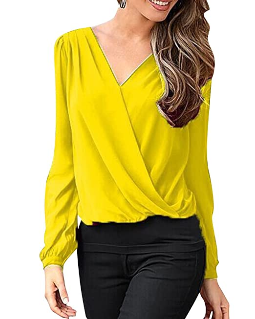 Mujeres De Color Solido Cuello En V Mangas Largas Casual Camisa Blusa Amarillo S
