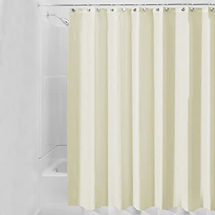 Image Unavailable Not Available For Color PPOVEN Beige Ruffled Bath Shower Curtain