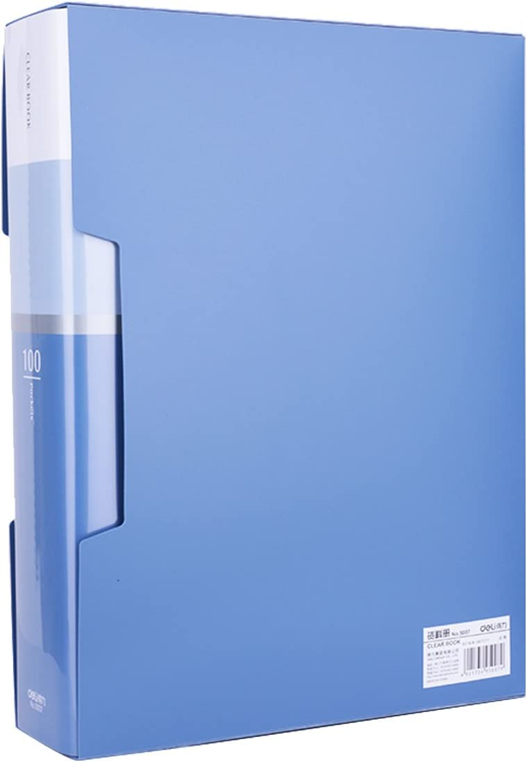 100-Pocket Business A4 Sheet Presentation Book, 200-Page Capacity for A4 and Letter Size Inserts File-N-View Presentation Display Book (Blue 100) : Office Products