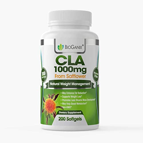 BioGanix CLA 1000mg, Natural Weight Loss Support for Fat Reduction, Metabolism Boost, Lean Muscle Mass Enhancement, from Safflower Oil, Stimulant Free, Non-GMO, Gluten Free, 200 coun