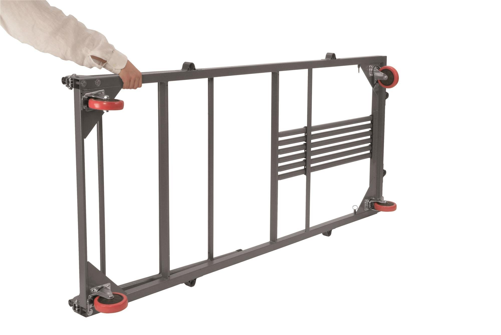 ZOWN Commercial 60241GRY1E Heavy Duty Adjustable Length Rectangular Folding Table Trolley Cart with Locking Wheels, Gray