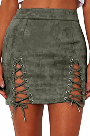 20445d89b1 Almaree Women Vintage Lace Up Empire Waist Faux Suede Bodycon Mini Skirt  Army Green S