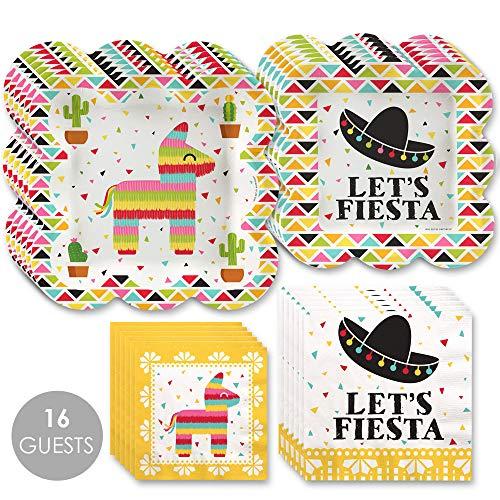 Fiesta Paper Plates - Big Dot of Happiness Let's Fiesta