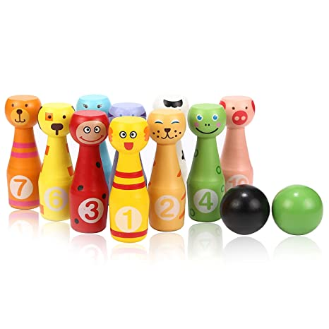 Home Wooden Cartoon Animal Bowling Children Early Education Educational Toys For Sale