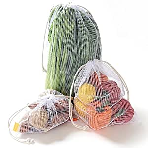 Zero Waste Reusable Produce Bags | Cotton Double Drawstring | Multiple Sizes in White | Extra Strong, Washable, See Through with Tare Weight Labels | Set of 5