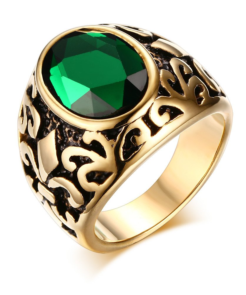 Mealguet Jewelry Stainless Steel Men Women Vintage Retro Gold Plated Glass Fashion Ring, Green