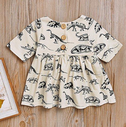 Mini honey Infant Baby Girls Summer Playwear Sun Dresses One-Piece Dress With Dinosaurs Print (3-6 Months, Beige) by Mini honey (Image #3)