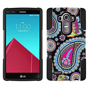 LG G4 Hybrid Case Fun Paisleys on Black 2 Piece Style Silicone Case Cover with Stand for LG G4