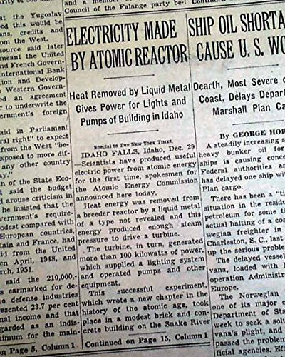 Nuclear Power Reactor Generates Electricity 1St Time Argo Idaho 1951 Newspaper The New York Times  December 30  1951