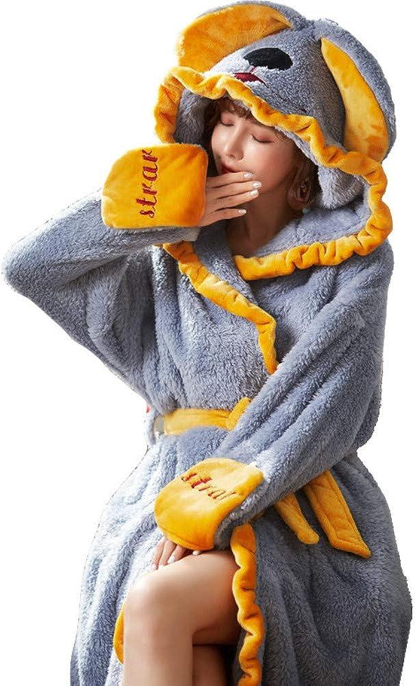 Robe Ladies, Otoño E Invierno Pijamas Cálidos, Mujeres Más Terciopelo Engrosamiento con Capucha Albornoces De Moda Servicio A Domicilio Coral Velvet