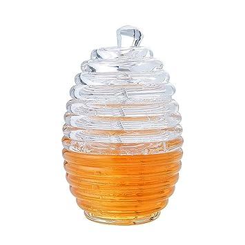 Tarro para Miel, Dsaren Contenedor de Miel Transparente Acrílico Bote Miel Dispensador de Miel con Cazo y Tapa, 265 ML: Amazon.es: Hogar